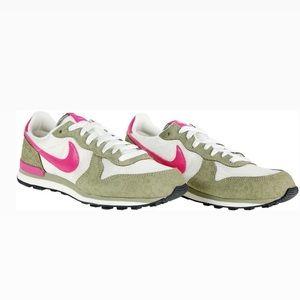 Nike pink / green internationalist sneakers size 8